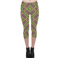Multicolor Geometric Ethnic  Capri Leggings