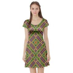 Multicolor Geometric Ethnic  Short Sleeve Skater Dress