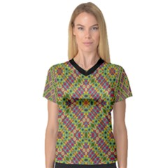 Multicolor Geometric Ethnic  Women s V Neck Sport Mesh Tee