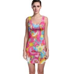 Hippy Peace Swirls Bodycon Dress