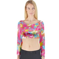 Hippy Peace Swirls Long Sleeve Crop Top (Tight Fit)