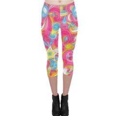 Hippy Peace Swirls Capri Leggings
