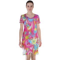 Hippy Peace Swirls Short Sleeve Nightdress
