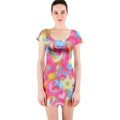 Hippy Peace Swirls Short Sleeve Bodycon Dress