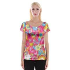 Hippy Peace Swirls Women s Cap Sleeve Top