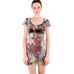 Blossom Butterfly Watercolour Short Sleeve Bodycon Dress