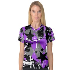 Purple Scene Kid Women s V-Neck Sport Mesh Tee