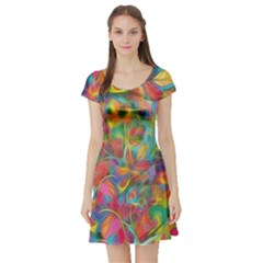 Colorful Autumn Short Sleeve Skater Dress