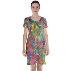 Colorful Autumn Short Sleeve Nightdress