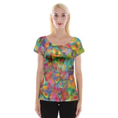 Colorful Autumn Women s Cap Sleeve Top