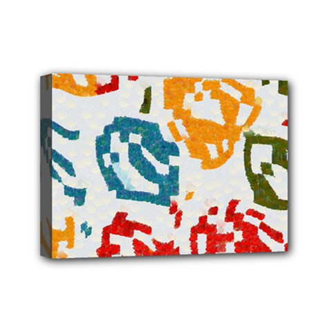Colorful Paint Stokes Mini Canvas 7  X 5  (stretched)