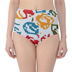 Colorful paint stokes High-Waist Bikini Bottoms