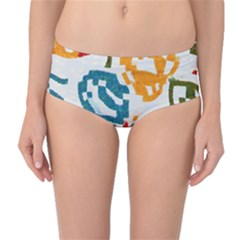 Colorful paint stokes Mid-Waist Bikini Bottoms