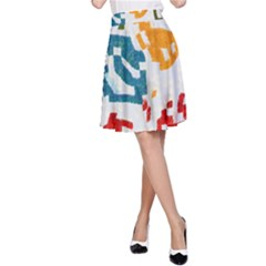 Colorful Paint Stokes A Line Skirt