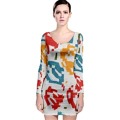Colorful paint stokes Long Sleeve Bodycon Dress