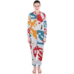 Colorful paint stokes Hooded OnePiece Jumpsuit