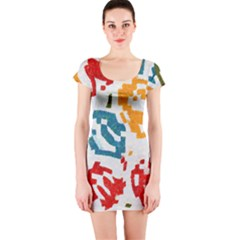 Colorful paint stokes Short sleeve Bodycon dress