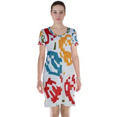 Colorful paint stokes Short Sleeve Nightdress