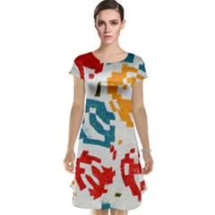 Colorful paint stokes Cap Sleeve Nightdress