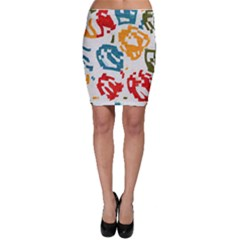 Colorful paint stokes Bodycon Skirt
