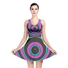 Distorted concentric circles Reversible Skater Dress