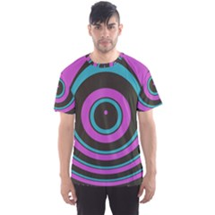 Distorted Concentric Circles Men s Sport Mesh Tee