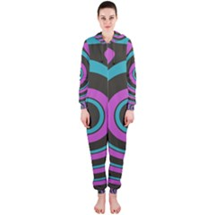 Distorted Concentric Circles Hooded Onepiece Jumpsuit
