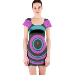 Distorted concentric circles Short sleeve Bodycon dress