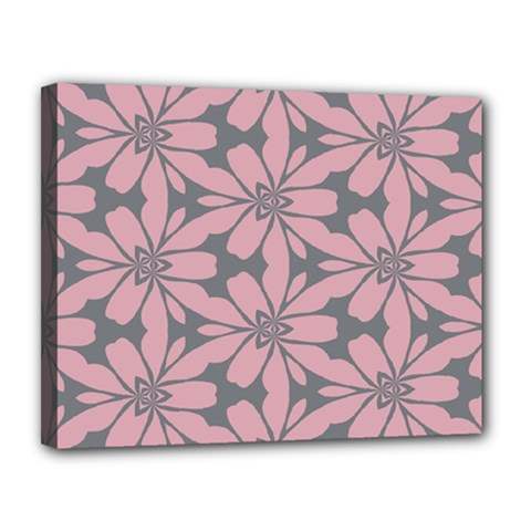 Pink Flowers Pattern Canvas 14  X 11  (stretched)