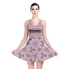Pink flowers pattern Reversible Skater Dress