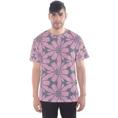 Pink Flowers Pattern Men s Sport Mesh Tee