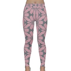 Pink Flowers Pattern Yoga Leggings