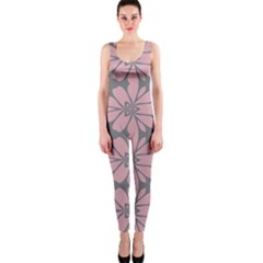 Pink Flowers Pattern Onepiece Catsuit