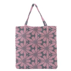 Pink flowers pattern Grocery Tote Bag