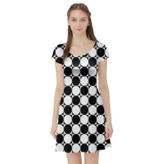 Black And White Polka Dots Short Sleeve Skater Dress