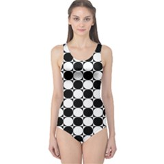 Black And White Polka Dots One Piece Swimsuit