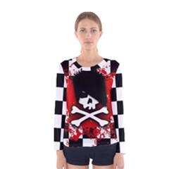 Emo Skull Women s Long Sleeve T Shirt