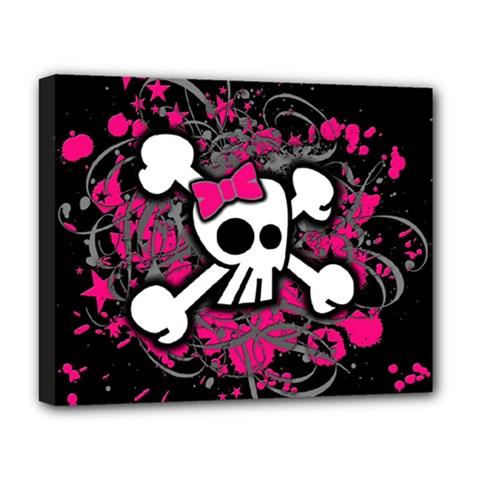 Girly Skull And Crossbones Deluxe Canvas 20  X 16  (framed)