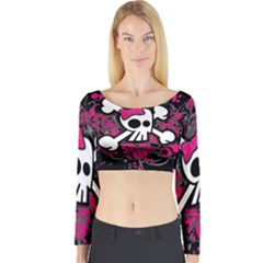 Girly Skull And Crossbones Long Sleeve Crop Top (tight Fit)