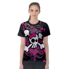 Girly Skull And Crossbones Women s Sport Mesh Tee