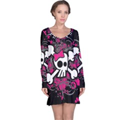 Girly Skull And Crossbones Long Sleeve Nightdress