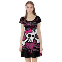Girly Skull And Crossbones Short Sleeve Skater Dress