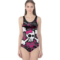 Girly Skull And Crossbones One Piece Swimsuit
