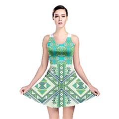 Green Pattern 2 Reversible Skater Dress