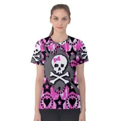 Pink Bow Skull Women s Cotton Tee