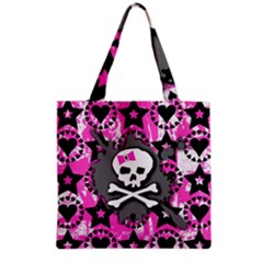 Pink Bow Skull Grocery Tote Bag