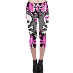 Pink Bow Skull Capri Leggings