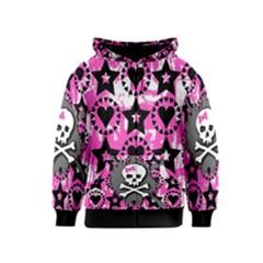Pink Bow Skull Kids Zipper Hoodie
