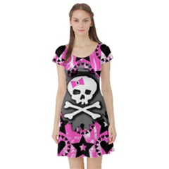 Pink Bow Skull Short Sleeve Skater Dress