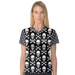 Skull And Crossbones Pattern Women s V Neck Sport Mesh Tee